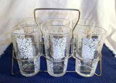 Vintage 50's Set 6 Tea Tumbler Water Glasses Wire Caddy White Flower Gold Accent
