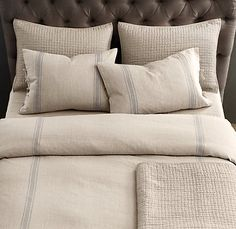 restoration hardware bedding.  I love the faded, rustic look