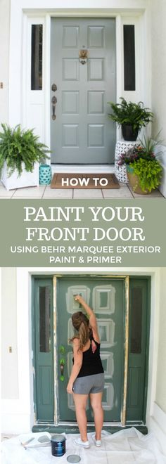 Giving our Front Door a Refresh with a New Pop of Color - Within the Grove Painted Exterior Doors, Exterior Door Colors, Front Door Paint Colors, Exterior Front Doors, Diy Exterior, Paint Colours, Behr Exterior Paint Colors, Cafe Exterior, Craftsman Exterior
