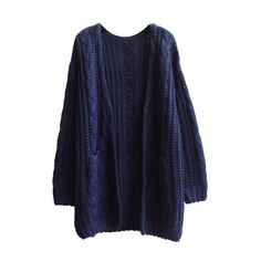 Plain V-Neck Double Pocket Open Front Cable Knit Long Sleeve Cardigan (€24) ❤ liked on Polyvore featuring tops, cardigans, blue top, cable cardigan, chunky cable knit cardigan, open front cardigan and v neck cardigan