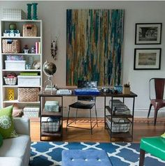 Office and living room combo earthy chic home for Living room office combo