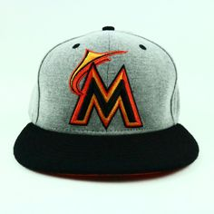 huge discount 11461 79783 Miami Marlins Hat NEW ERA 7 5 8 Fitted MLB Baseball 59FIFTY Cap Gray Black
