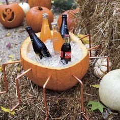 Great idea to incorporate the pumpkin for decorations and keep the beer cold! (or soft drinks), I suppose. ;)