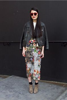 Skirt: midi skirt, flowers, black leather jacket, leather jacket, perfecto, floral midi skirt, floral skirt, red sunglasses, spring outfits, outfit idea - Wheretoget