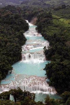 """The Cascadas de Agua Azul (Spanish for """"Blue-water Falls"""") are found in the Mexican state of Chiapas."""