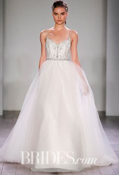 "Brides.com: . ""9613"" ivory and cashmere tulle ballgown with shimmer throughout, natural waist jeweled bodice with a V-neckline and low scoop back, Alvina Valenta"