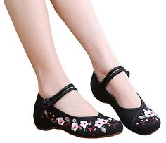 AvaCostume Embroidery Womens Classics Flats Rubber Sole Casual Shoes, Beige 34