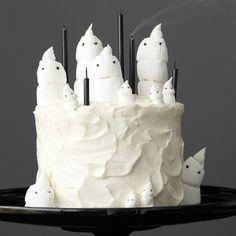 Chocolate Marshmallow Ghost Cake and Mini Cupcakes Recipe - Delish.com