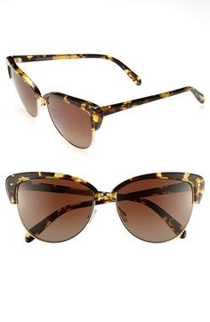 $450, Alisha 60mm Polarized Sunglasses Dark Brown One Size by Oliver Peoples. Sold by Nordstrom. Click for more info: http://lookastic.com/women/shop_items/48829/redirect