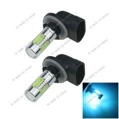 2X Ice Blue 5 COB 7.5W LED 881 H27W2 Car Bulb Fog Light Driving Headlight H651 #UnbrandedGeneric