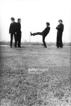 The Stranglers, group portrait, Primrose Hill, London, August 1980, Jean-Jacques Burnel, Hugh Cornwell, Jet Black, Dave Greenfield.
