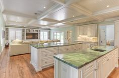Quartzite Countertops Kitchen Traditional With Blinds Coffered Ceiling Cup Drawer Pulls Green