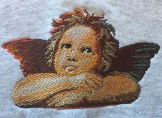 Angel Sweatshirt, Cherub Embroidery Sweatshirt Size Large Hanes by AlwaysInStitchesCo on Etsy