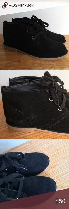 NWOT Lucky Brand Black Suede Chukka Booties 6 Emillia booties. Black suede. Never worn! Size 6 Lucky Brand Shoes