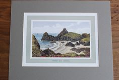 Cornwall KYNANCE COVE Lizard Point Edwardian Vintage Colour Plate Cornish…