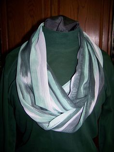 Green,Gray and black streak fabric Infinity scarf, Circle Scarf, Loop Scarf, Scarves, Shawls, Spring - Fall - Winter - Summer fashion It's a great way to casually & easily accessorize any outfit to dress up any outfit.This scarf could be worn around ... - $24.95