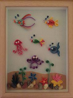 Quilling fish ocean sea creatures in frame