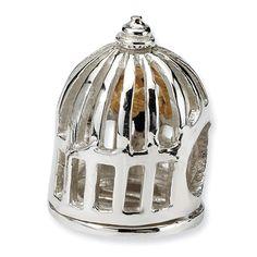 gold bird cage charm
