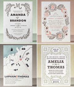 tarjetas con caligrafía: Esta opción presenta muchas variantes de estilos y diseño