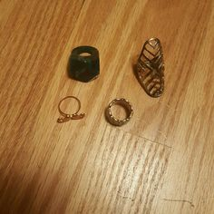 Bundle of 4 rings size 6 All size 6 rings, the dark green one runs a little smaller Jewelry Rings