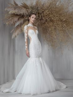 Tulle gown featuring a sweetheart neckline, illusion collar and sleeves, with a trailing fishtail adding a vintage gaze.  Tony Ward   Style: GISELE Tony Ward Wedding Dresses, Tony Ward Bridal, Long Wedding Dresses, Bridal Dresses, Fit And Flare Wedding Dress, Tulle Gown, Wedding Bells, Dress Collection, Wedding Dressses