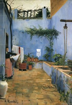 by Santiago Rusiñol i Prats who was a catalan post-impressionist/symbolist painter, poet, . Patio Azul, Spanish Painters, Spanish Artists, Art Espagnole, Art Moderne, Modern Artists, Love Art, Oeuvre D'art, Impressionism