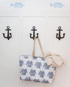 a112ea492 Sea Bags, Sara Fitz, White Striped Shirt Pattern Handbag Tote- hemp handles  with