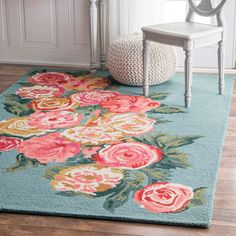 Shop the Hand Hooked Rose Bouquet Rug - Color: Light Blue; Size: x by NuLoom. This Hand Hooked Light Blue rug has a pile_height, perfect for a soft yet durable addition to your home. Decor, Nursery Rugs, Beautiful Roses, Floor Rugs, Usa Lights, Rugs, Floral Nursery, Light Blue Rug, Rugs Usa