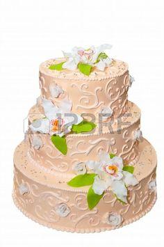 Pastel de bodas color damasco