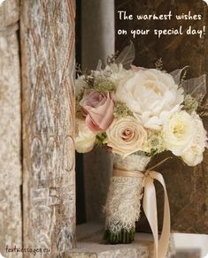 This gorgeous flower bouquet for your wedding flowers ideas Champagne Wedding Flowers, Flower Bouquet Wedding, Floral Wedding, Rustic Wedding, Our Wedding, Bouquet Flowers, Country Wedding Flowers, Bouquet Wrap, Wedding Wishes