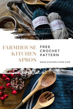 The Farmhouse Kitchen Apron is a FREE crochet pattern available on the Sincerely, Pam blog. #freecrochet #crochetpattern #farmhousekitchen