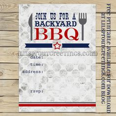 free printable bbq party invite lilsproutgreetings Free Printable BBQ Party Invitation