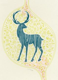 Deer Print on Tile Green by Cindytomczykart