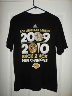 Men's Black, White LA LAKERS ADIDAS Back 2 Back Champions Shirt, Size M, GUC #ADIDDASNBAShirt #LosAngelesLakers
