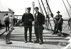 "Charlie Chaplin during production of final scenes, ""The Gold Rush"" ""The final scenes was shot aboard ""The Lark"", April 1925 Also on board Georgia Hale & Mack Swain. The scenes were shot while the boat..."