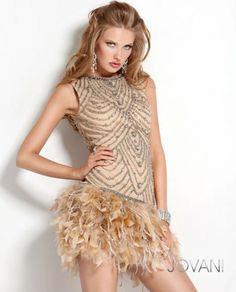 Beaded and Feather Dress, Style 2250