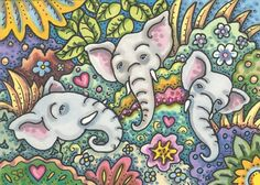 ELEPHANT DREAMS IN A JUNGLE GARDEN - Here's a brand new folk art Elephant ACEO I just listed on one of my Ebay sites.  Tried to get as much detail as I could on the little trading card.  I can get lost in my art and work for hours on a single card.  Sometimes working on a small image is more labor intensive than a larger piece.  Susan Brack Original Elephant Art Illustration ACEO EBSQ