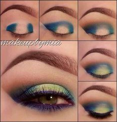 an easy two-toned effect with your eyeliner by adding a light, bright color to the center of the eyelid.Get an easy two-toned effect with your eyeliner by adding a light, bright color to the center of the eyelid. Make Up Looks, Beauty Make-up, Beauty Hacks, Beauty Tips, Natural Beauty, Beauty Care, Fashion Beauty, Beauty Style, Beauty Skin