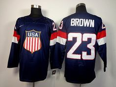 Mens Nike USA Hockey 2014 Winter Olympics Games No. 23 Dustin Brown Stitched Numbers / Names / Logos Navy Jersey