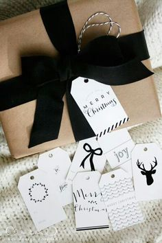 This beautiful black bow looks great on craft paper with white and black gift tags for the holidays!