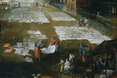 Jan Brueghel the Elder & Joos van Mompers, detail of Flemish Market and Washing Place, Prado (detail) Dutch Golden Age, Life Images, 16th Century, Red Shoes, Painting & Drawing, Laundry Room, Netherlands, Renaissance, Bathing