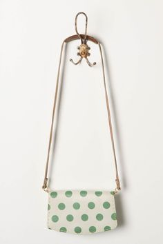 Green polka dot purse from Anthropologie Polka Dot Purses, Polka Dots, What's My Favorite Color, Sweet Bags, Small Handbags, Tote Purse, Mini Bag, Purses And Bags, My Style