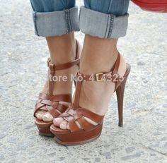 Cute brown scrappy heels with rolled jeans
