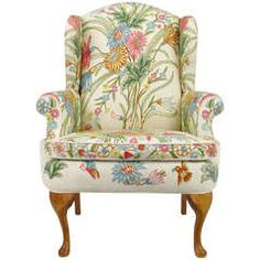 Wool Crewel Upholstered Wing Chair in Colorful Floral