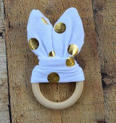 White/Gold Bunny Ears Wooden Teething Ring