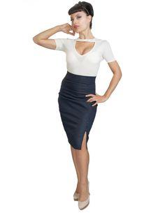 Inked Boutique - Stretch Denim Skirt Indigo Retro Vintage Inspired Rockabilly Pinup Clothing Pencil Skirt http://www.inkedboutique.com