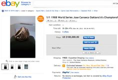 Jose Canseco's Championship Ring On Ebay