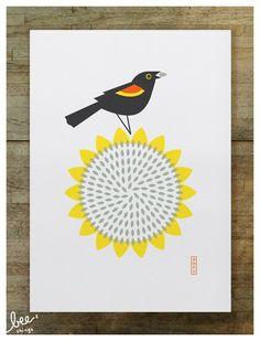 red-winged blackbird limited edition screen print  red-winged blackbird, enjoying sunflower seeds, a favorite fall treat.