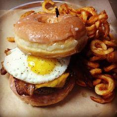 Breakfast for dinner burger at Rockit Burger Bar Wrigleyville