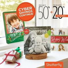 There's still time to save on great gifts. Enjoy an extra 20% off. Use code: CYBER20. Ends tonight, Dec 5.Offer is good for 20% off qualifying merchandise orders at shutterfly.com. Taxes, shipping and handling will apply.
